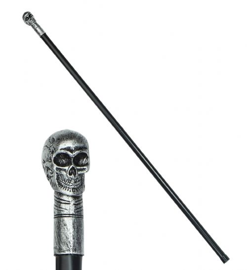 COLLAPSIBLE SKULL CANE 105cm Stick Accessory Halloween Fancy Dress